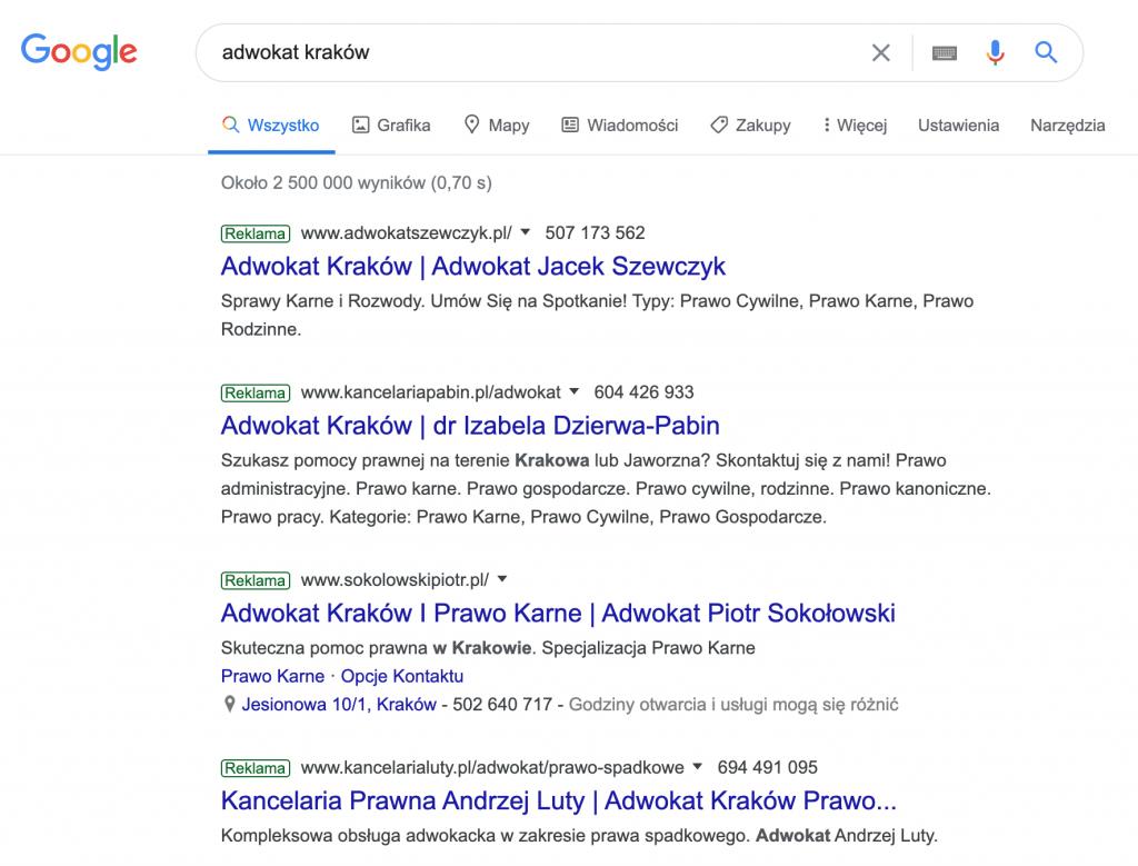 Google Ads wreklamie prawnika