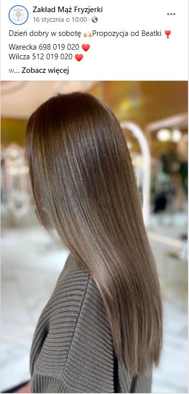 Przykładowy post salonu fryzjerskiego naFacebooku. Simpliteca