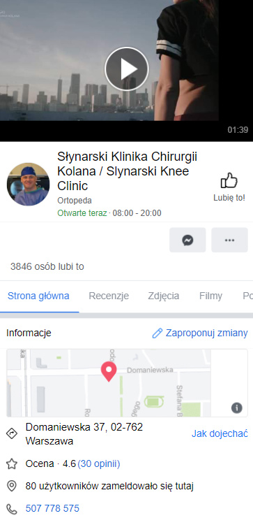 Profil lekarza naFacebooku - Simpliteca