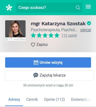 Wizytówka lekarza wserwisie znanylekarz.pl - Simpliteca