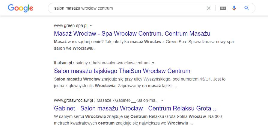 Przykład pozycjonowania lokalnego salonu masażu weWrocławiu. Simpliteca
