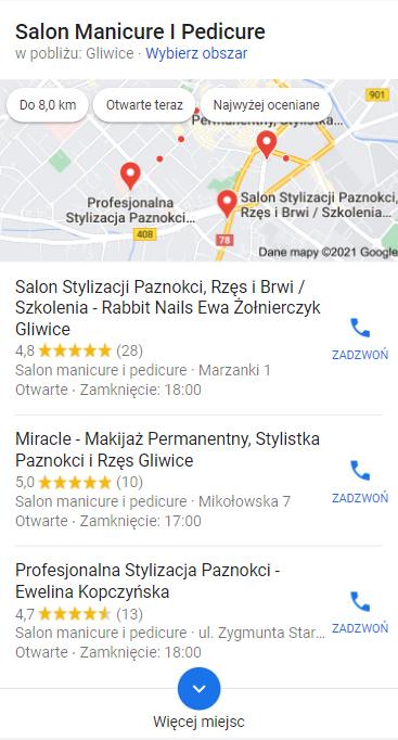 Wyniki wyszukiwania uwzględniające wizytówki wGoogle Moja Firma. Simpliteca