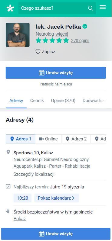 Przykładowa wypełniona wizytówka wserwisie znanylekarz.pl - Simpliteca