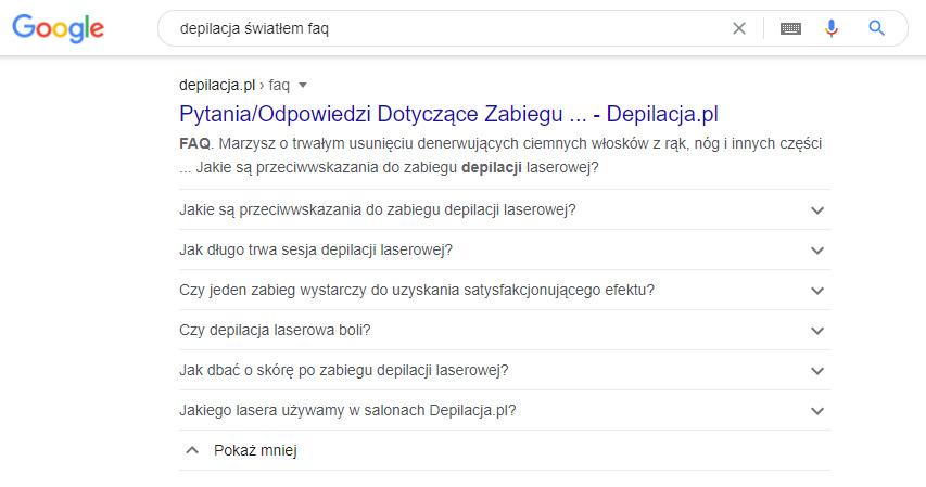 Niekiedy Google przedstawia FAQ nastronie zwykorzystaniem featured snippet.