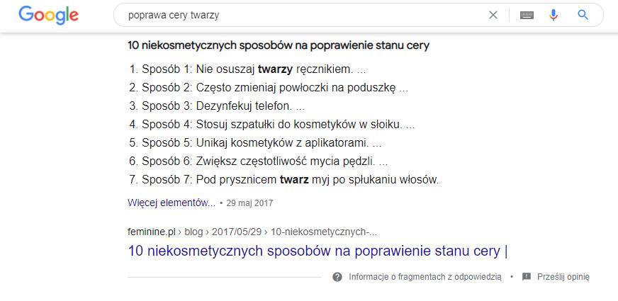 Przykład fragmentu zodpowiedzią (featured snippet) wwynikach wyszukiwania.