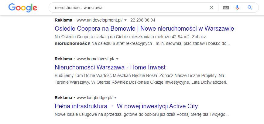 Wyniki wyszukiwania wramach Google Ads