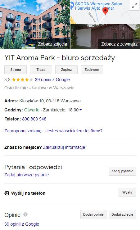 Wizytówka Google Moja Firma dla inwestycji Aroma Park wWarszawie.