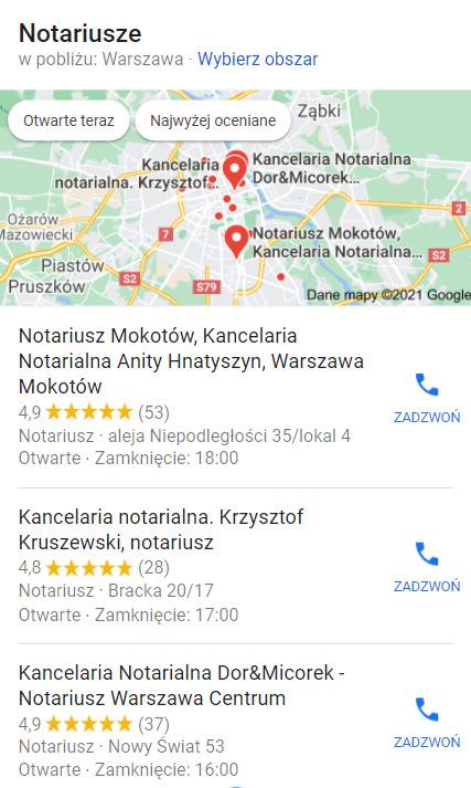Google Moja Firma - wizytówki kancelarii notarialnych wWarszawie