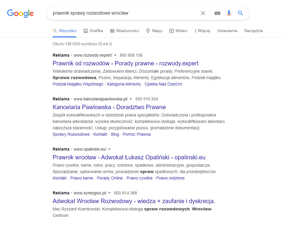 Wyniki sponsorowane wramach Google Ads.