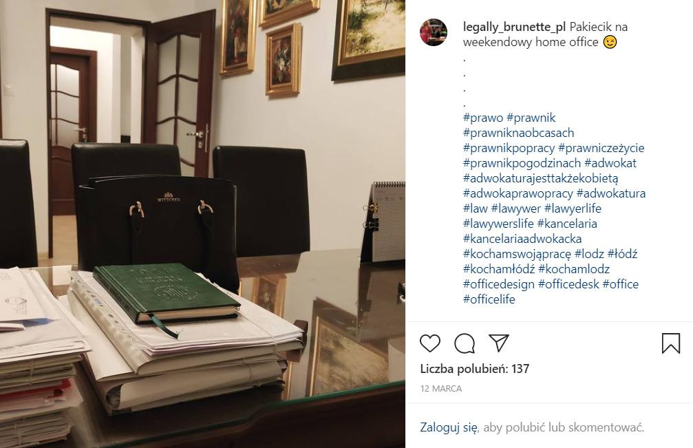 Profil prawnika naInstagramie