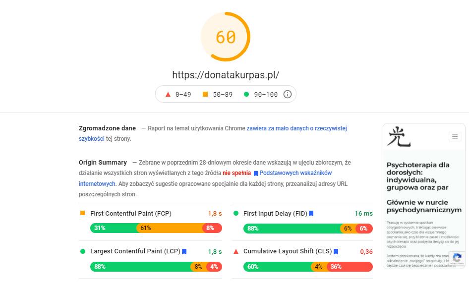 Badanie Google PageSpeed Insights poprzebudowie