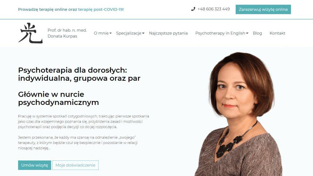 Strona internetowa gabinetu psychoterapii