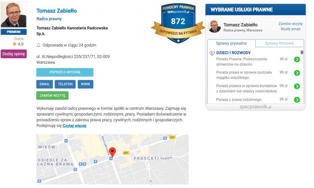 Wizytówka prawnika wportalu specprawnik.pl.